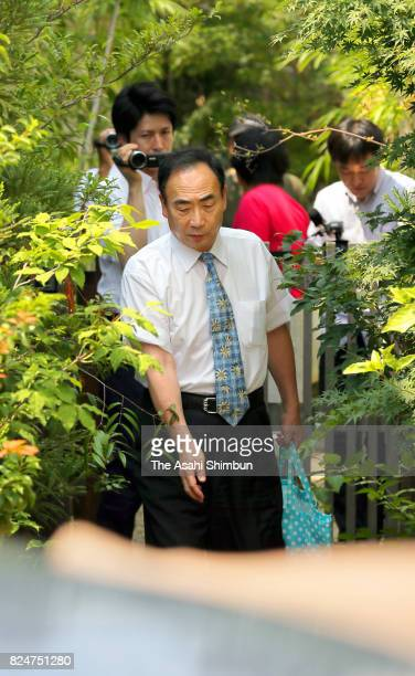 Yasunori Kagoike the former head of school operator Moritomo Gakuen leaves his home before going to speak with prosecutors on July 31 2017 in...