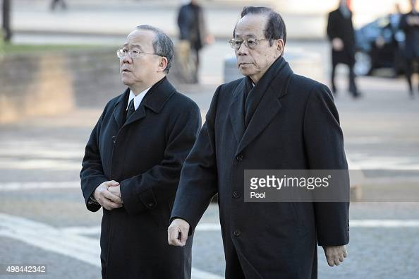 Yasuo Fukuda arrives to attend the funeral service of former German Chancellor Helmut Schmidt at St Michaelis church on November 23 2015 in Hamburg...
