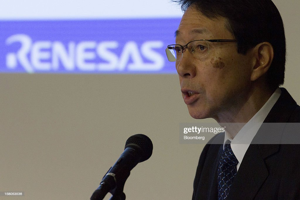 Yasushi Akao, president of Renesas Electronics Corp., speaks during a news conference in Tokyo, Japan, on Monday, Dec. 10, 2012. Renesas Electronics Corp., the ailing Japanese chipmaker, will sell at least 150 billion yen ($1.8 billion) of new shares to a government-backed fund and customers such as Toyota Motor Corp. as part of a bailout plan. Photographer: Noriyuki Aida/Bloomberg via Getty Images