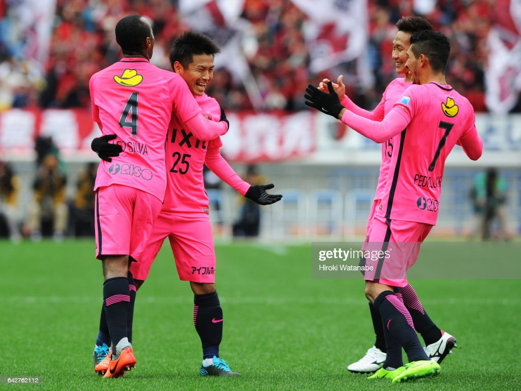 Yasushi Endo #25 of Kashima Antlers celebrates scoring his team`s second goal during the Xerox Super Cup match between Kashima Antlers and Urawa Red Diamonds at Nissan Stadium on February 18, 2017 in Yokohama, Kanagawa, Japan.