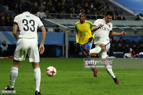 Yasushi Endo of Kashima Antlers scores the first goal to make the score 01 during the FIFA Club World Cup Quarter Final match between Mamelodi...