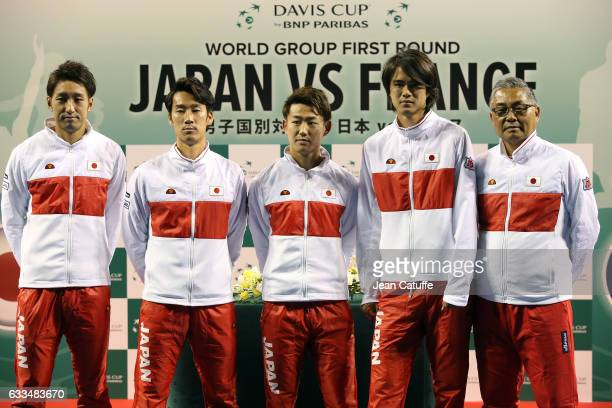 Yasutaka Uchiyama Yuichi Sugita Yoshihito Nishioka Daniel Taro captain of Team Japan Minoru Ueda pose during the official draw ceremony ahead of the...