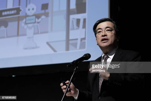 Yasuyuki Imai chief operating officer at SoftBank Group Corp speaks at SoftBank Robot World 2017 in Tokyo Japan on Tuesday Nov 21 2017 SoftBank Chief...