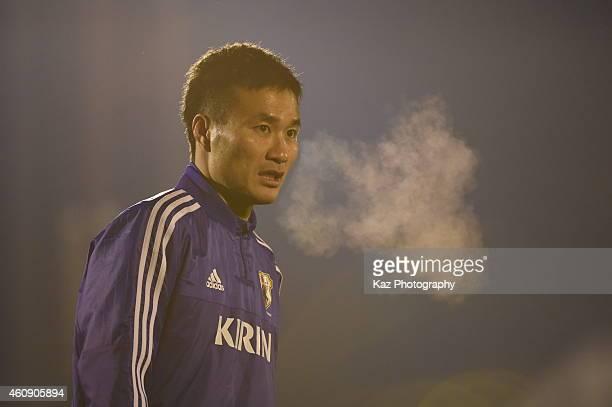 Yasuyuki Konno during the Japanese national team's training session ahead of The AFC Asian Cup at the Narashino Akitsu Soccer Stadium on December 30...