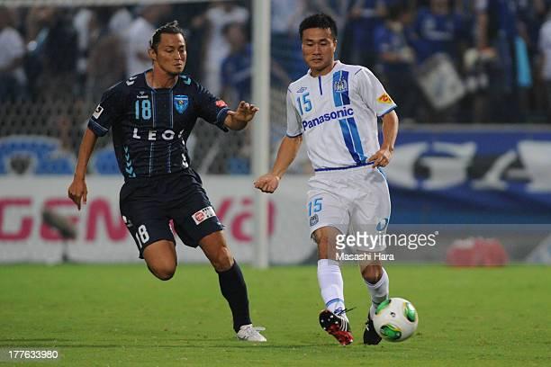 Yasuyuki Konno of gamba Osaka in action during the JLeague second division match between Yokohama FC and Gamba Osaka at Nippatsu Mitsuzawa Stadium on...