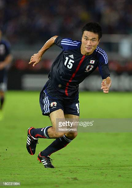 Yasuyuki Konno of Japan in action during the international friendly match between Japan and Ghana at International Stadium Yokohama on September 10...