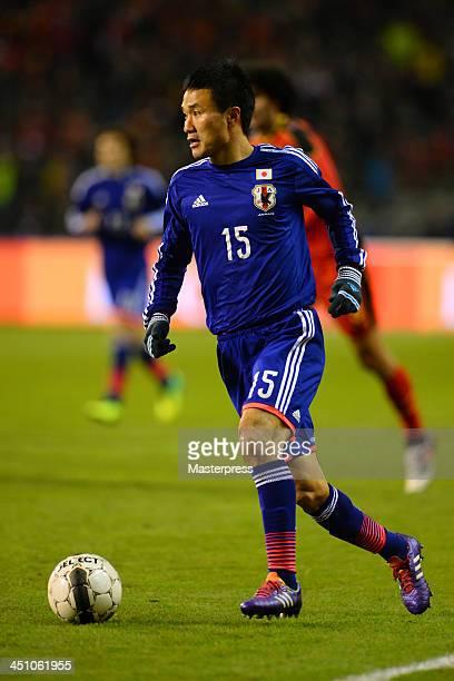 Yasuyuki Konno of Japan in action during the international friendly match between Belgium and Japan at King Baudouin Stadium on November 19 2013 in...