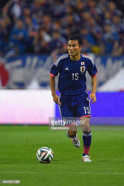 Yasuyuki Konno of Japan in action during the Kirin Challenge Cup international friendly match between Japan and Cyprus at Saitama Stadium on May 27...