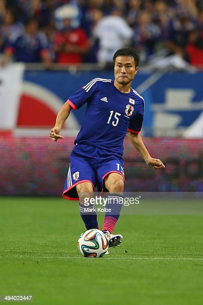 Yasuyuki Konno of Japan passes the ball during the Kirin Challenge Cup international friendly match between Japan and Cyprus at Saitama Stadium on...