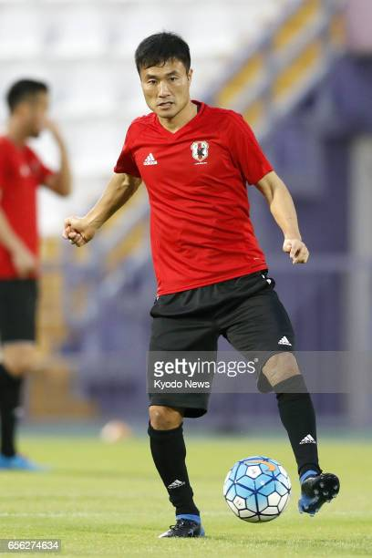 Yasuyuki Konno takes part in a Japan national soccer team training session in Al Ain the United Arab Emirates on March 21 prior to a finalround World...