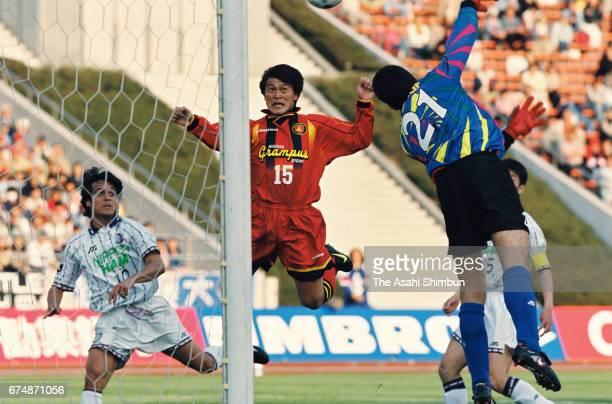Yasuyuki Moriyama of Nagoya Grampus Eight heads the ball during the JLeague match between Nagoya Grampus Eight and Cerezo Osaka at Mizuho Athletic...