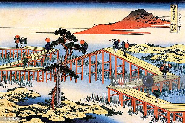 Yatsuhashi in Mikawa Province c1835 From a series Remarkable Views of the Bridges in all Provinces Hokusai Katsushika Found in the collection of the...