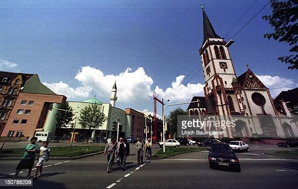 Yavuz Sultan Selim Camii Mosque and Liebfrauenkirche in Mannheim