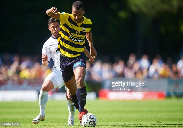 Yaw Amankwah of Hobro IK in action during the Danish NordicBet LIGA 1 division match between Hobro IK and FC Vendsyssel at DS Arena on May 27 2017 in...
