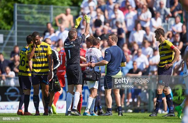 Yaw Amankwah of Hobro IK walks injured on the pitch during the Danish NordicBet LIGA 1 division match between Hobro IK and FC Vendsyssel at DS Arena...