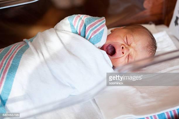 Yawning Newborn Baby Boy