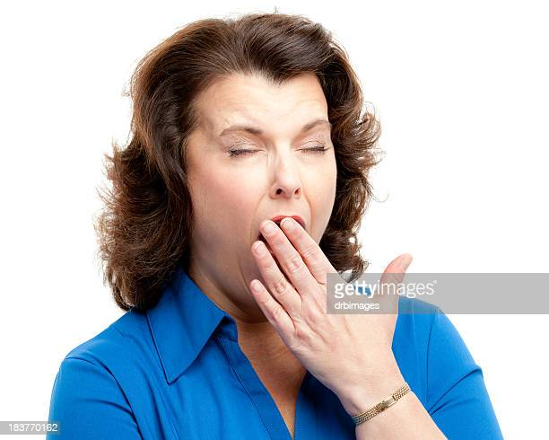 Yawning Woman Covering Mouth