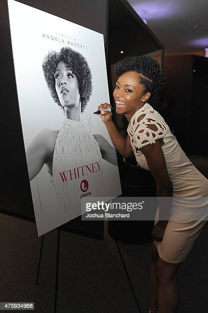 Yaya DaCosta attends the Awardsline/Deadline Hollywood Screening Of 'Whitney' at the Landmark Theatre on June 4 2015 in Los Angeles California