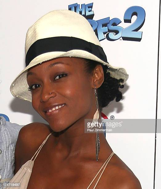Yaya DaCosta attends 'The Smurfs 2' New York Blue Carpet Screening at Lighthouse International Theater on July 28 2013 in New York City