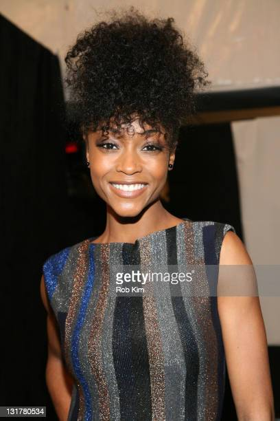 Yaya DaCosta backstage at the Christian Cota Fall 2011 fashion show during MercedesBenz Fashion Week at The Studio at Lincoln Center on February 16...