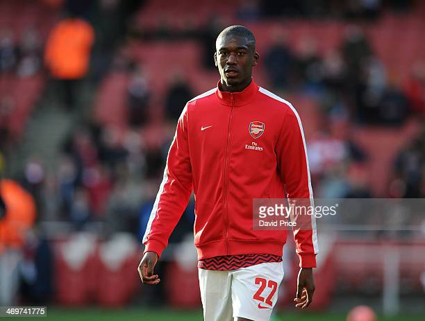 Yaya Sanogo of Arsenal before the match between Arsenal and Liverpool in the 5th Round of the FA Cup at Emirates Stadium on February 16 2014 in...