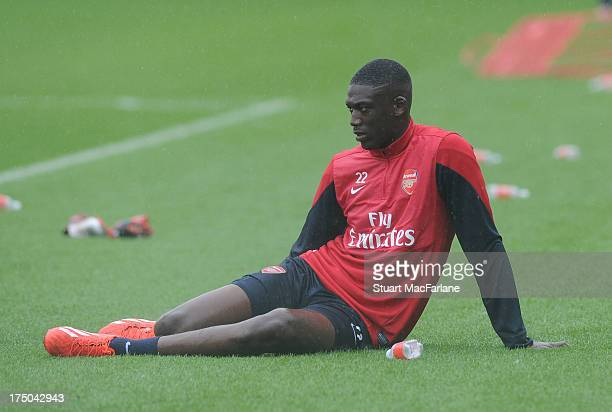 Yaya Sanogo of Arsenal during a training session at London Colney on July 30 2013 in St Albans England