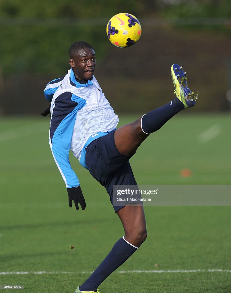 Yaya Sanogo of Arsenal during a training session at London Colney on January 27, 2014 in St Albans, England.