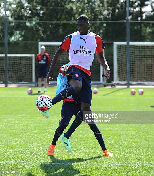 Yaya Sanogo of Arsenal during a training session at London Colney on July 7 2015 in St Albans England
