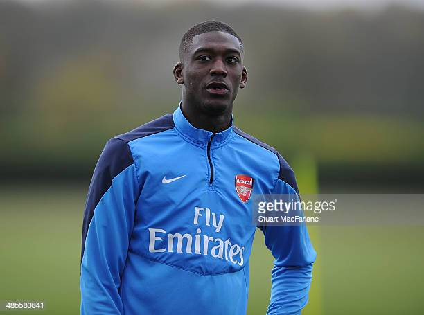 Yaya Sanogo of Arsenal during a training session at London Colney on April 19 2014 in St Albans England