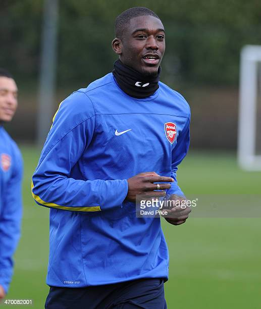 Yaya Sanogo of Arsenal during the Arsenal Training Session at London Colney on February 18 2014 in St Albans England