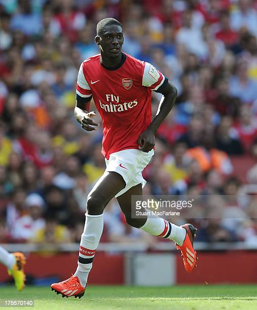 Yaya Sanogo of Arsenal during the Emirates Cup match between Arsenal and Galatasaray at the Emirates Stadium on August 04 2013 in London England