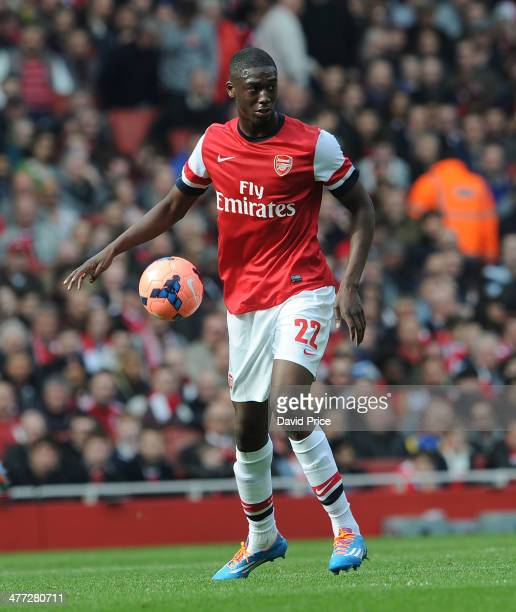 Yaya Sanogo of Arsenal during the match between Arsenal and Everton in the FA Cup 6th Round at Emirates Stadium on March 8 2014 in London England