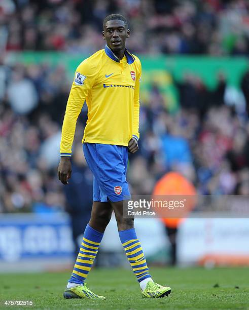Yaya Sanogo of Arsenal during the match between Stoke City and Arsenal in the Barclays Premier League at Britannia Stadium on March 1 2014 in Stoke...