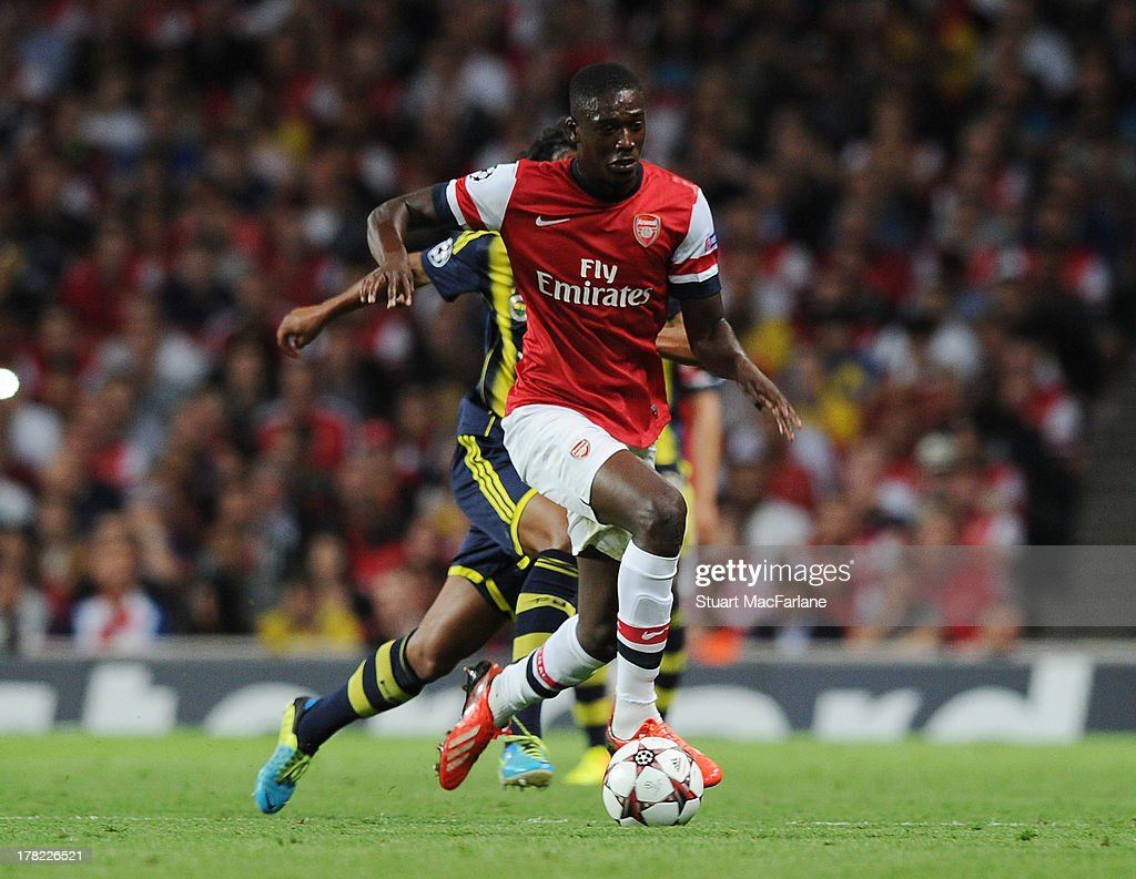 yaya Sanogo of Arsenal during the UEFA Champions League Play Off Second leg match between Arsenal FC and Fenerbahce SK at Emirates Stadium on August 27, 2013 in London, England.