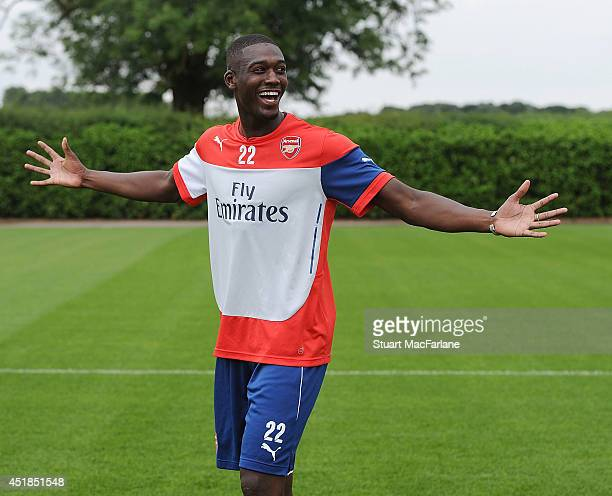Yaya Sanogo of Arsenal gestures during a training session at London Colney on July 8 2014 in St Albans England