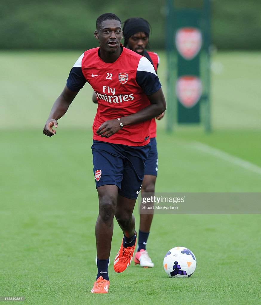 Yaya Sanogo of Arsenal in action during a training session at London Colney on August 02, 2013 in St Albans, England.