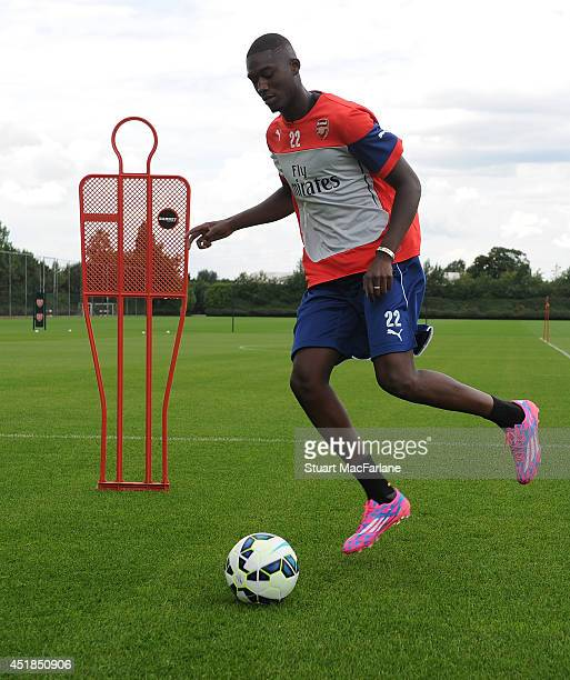 Yaya Sanogo of Arsenal in action during a training session at London Colney on July 8 2014 in St Albans England