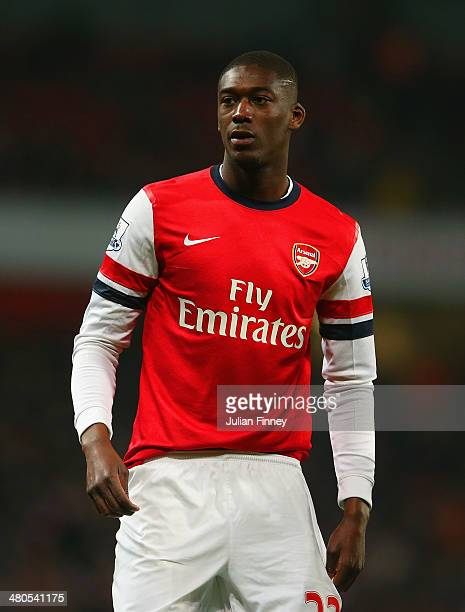 Yaya Sanogo of Arsenal looks on during the Barclays Premier League match between Arsenal and Swansea City at Emirates Stadium on March 25 2014 in...