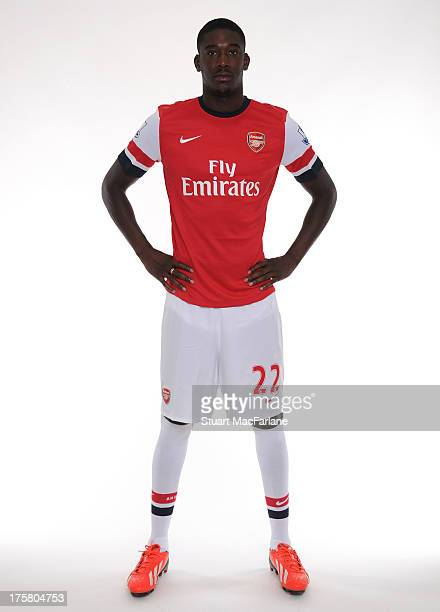 Yaya Sanogo of Arsenal poses during the first team photocall at Emirates Stadium on August 08 2013 in London England