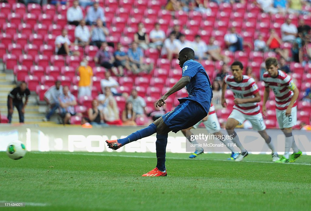 Yaya Sanogo of France scores his goal during the FIFA U-20 World Cup Group A match between France and USA at the Ali Sami Yen Arena on June 24, 2013 in Istanbul, Turkey.
