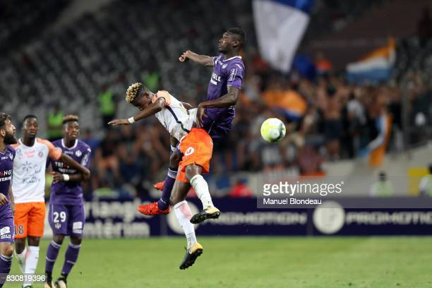 Yaya Sanogo of Toulouse during the Ligue 1 match between Toulouse FC and Montpellier Herault SC at Stadium Municipal on August 12 2017 in Toulouse