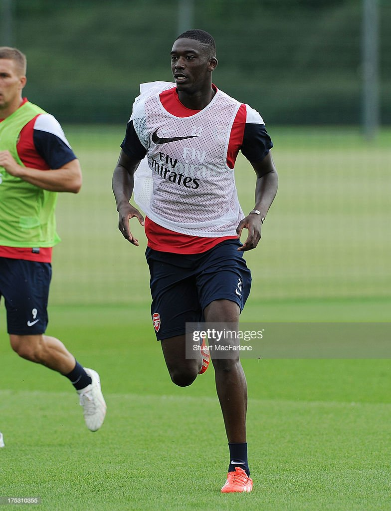 Yaya Sanongo of Arsenal in action during a training session at London Colney on August 02, 2013 in St Albans, England.