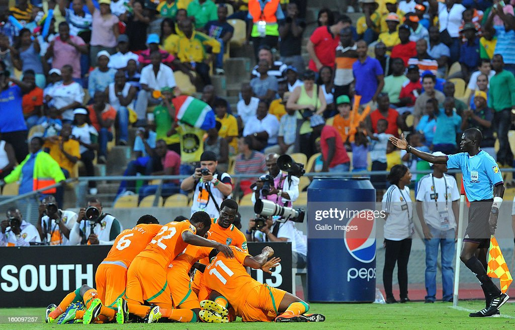 AFRICA - JANUARY 26, Yaya Toure of Ivory Coast celebrates his goal during the 2013 African Cup of Nations match between Ivory Coast and Tunisia at Royal Bafokeng Stadium on January 26, 2013 in Rustenburg, South Africa.