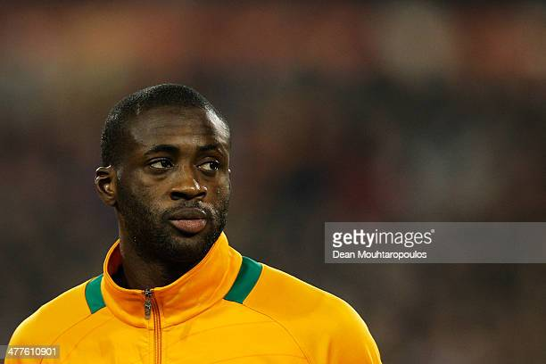 Yaya Toure of Ivory Coast looks on prior to the International Friendly match between Belgium and Ivory Coast at The King Baudouin Stadium on March 5...