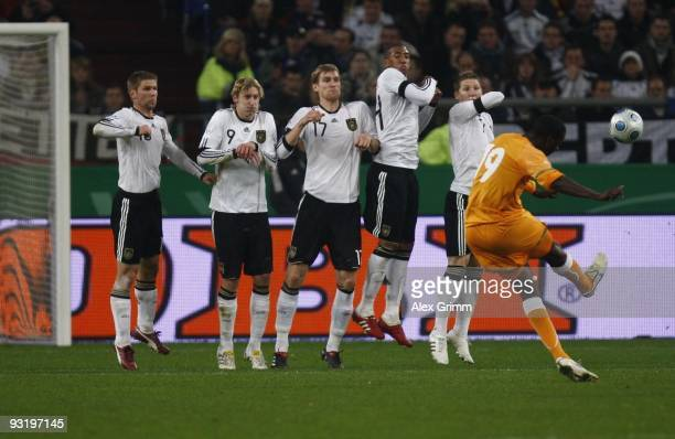 Yaya Toure of Ivory Coast takes a free kick during the international friendly match between Germany and Ivory Coast at the Schalke Arena on November...