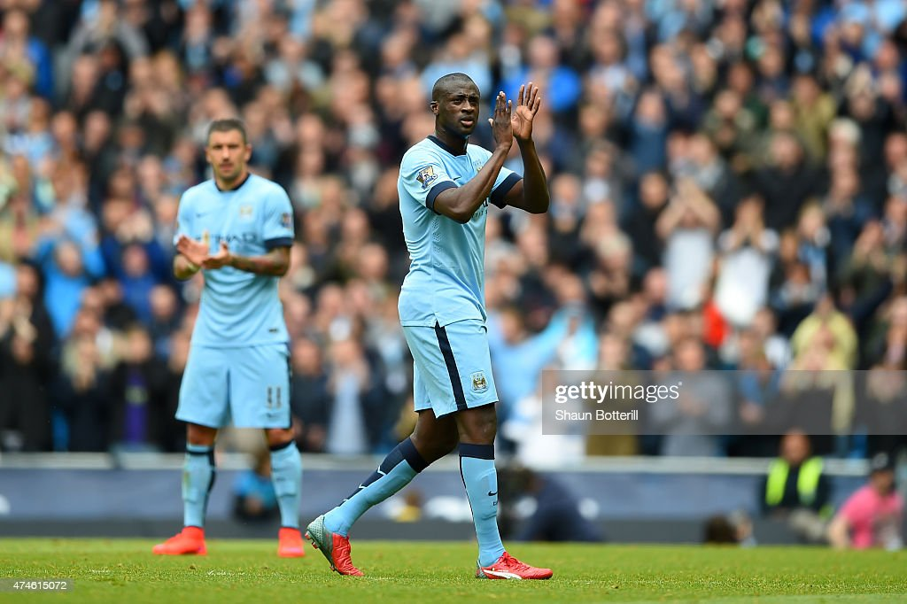 Yaya Toure of Manchester City applauds supporters as he is replaced during the Barclays Premier League match between Manchester City and Southampton at Etihad Stadium on May 24, 2015 in Manchester, England.