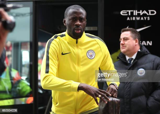 Yaya Toure of Manchester City arrives at the stadium prior to The Emirates FA Cup QuarterFinal match between Middlesbrough and Manchester City at...