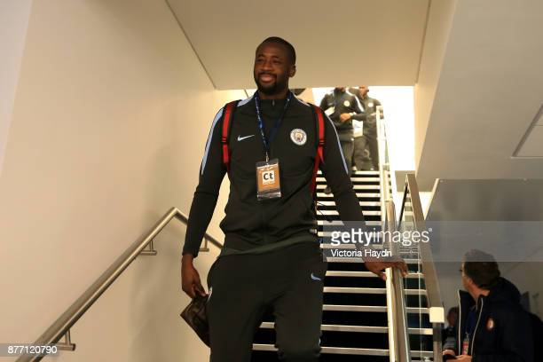 Yaya Toure of Manchester City arrives to the stadium prior to the UEFA Champions League group F match between Manchester City and Feyenoord at Etihad...