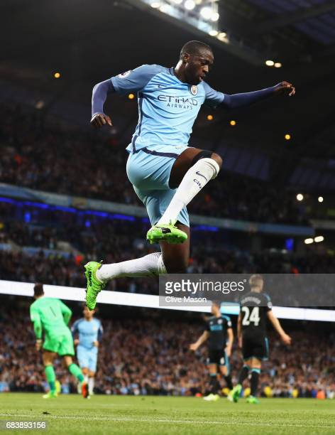 Yaya Toure of Manchester City celebrates scoring his sides third goal during the Premier League match between Manchester City and West Bromwich...