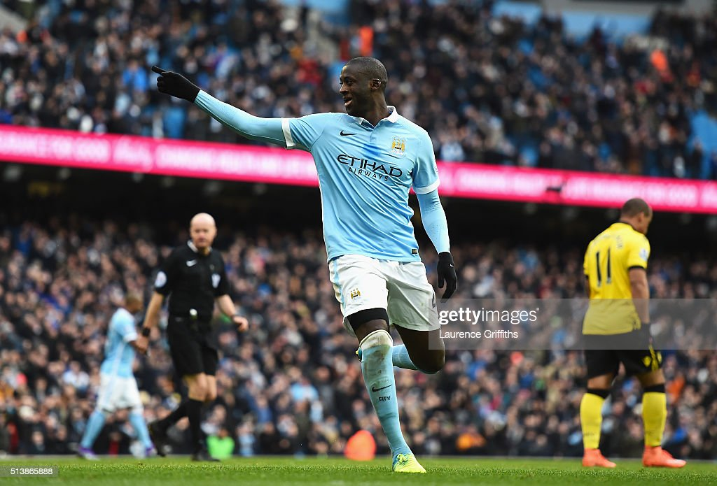 Yaya Toure of Manchester City celebrates scoring his team's first goal during the Barclays Premier League match between Manchester City and Aston Villa at Etihad Stadium on March 5, 2016 in Manchester, England.